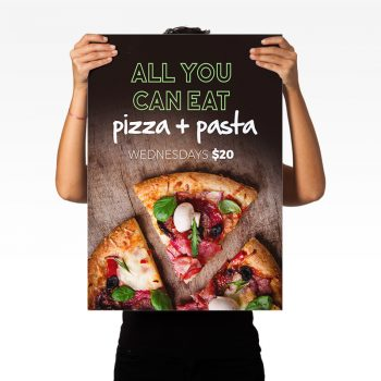 Posters for a local pizza restaurant
