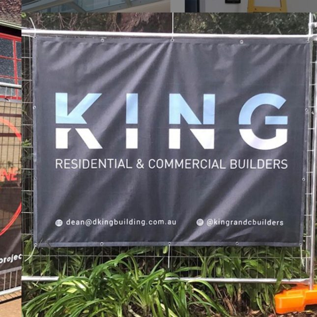 Sydney Metro builder advertising on square banner