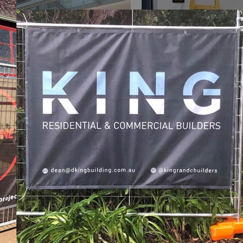 Sydney Metro builder advertising on square banner
