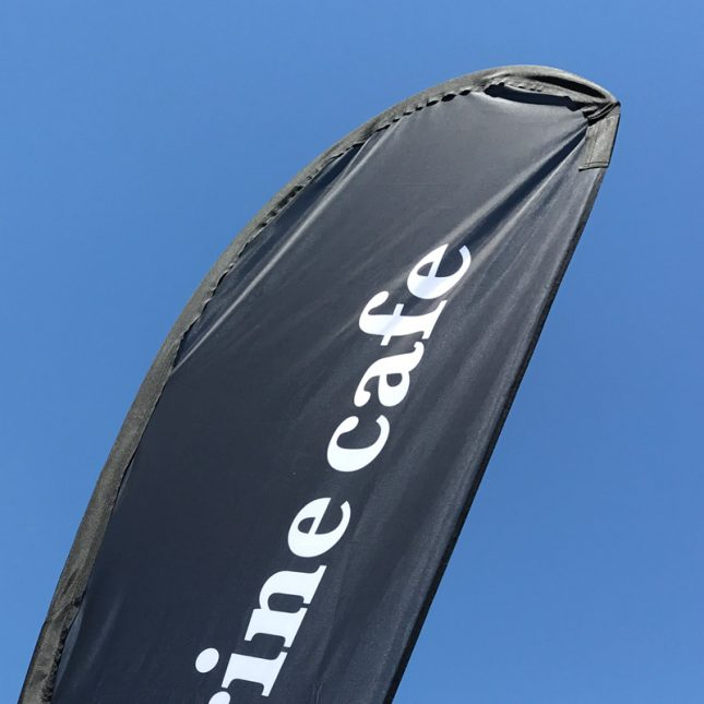 Top of a tear drop banner