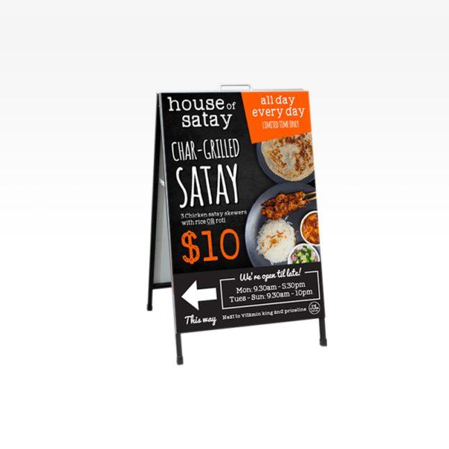 An a-frame sign for a restaurant