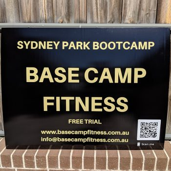Fitness sign printed on corrugated material