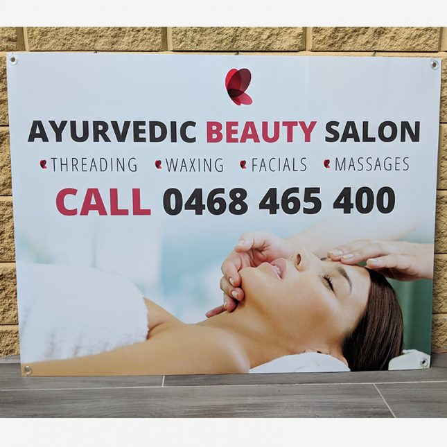 A banner advertising services of a health spa