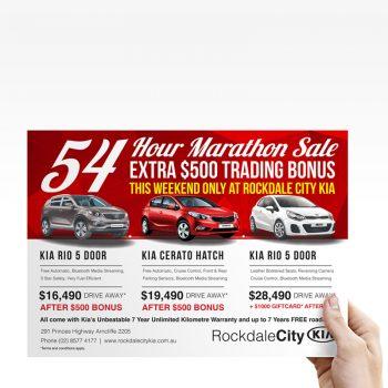 Kia advertisement on a flyer