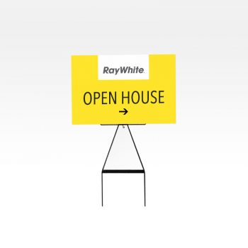 Open house sign on a metal frame