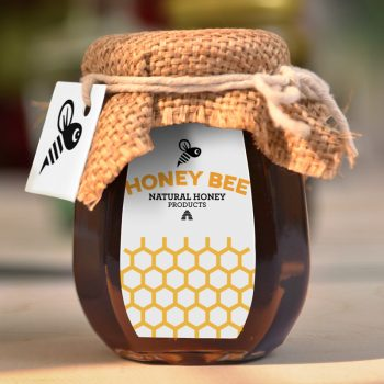 Local honey company on a product label
