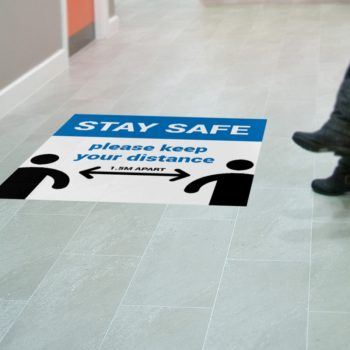 Social distancing on floor decal stickers