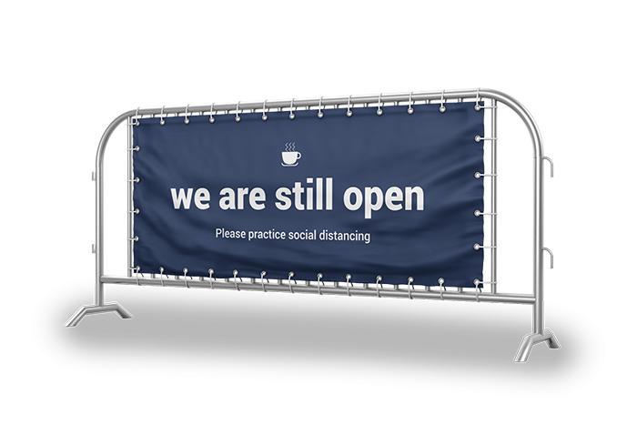 Displays the quality printing of a banner barrier sign.