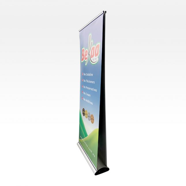 Double side retractable banner display stand